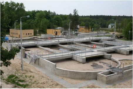Rysunek 1. Typowa oczyszczalnia ścieków w komorach cyrkulacyjnych z aeratorami o osi poziomej